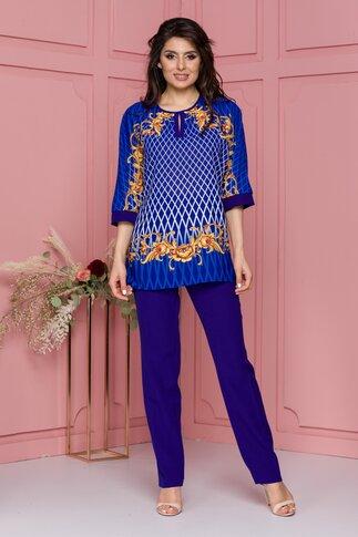 Compleu Miruna albastru cu pantaloni si bluza cu romburi