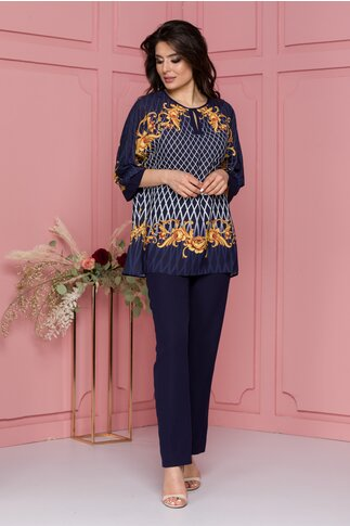 Compleu Miruna bleumarin cu pantaloni si bluza cu romburi