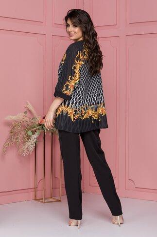 Compleu Miruna negru cu pantaloni si bluza cu romburiI
