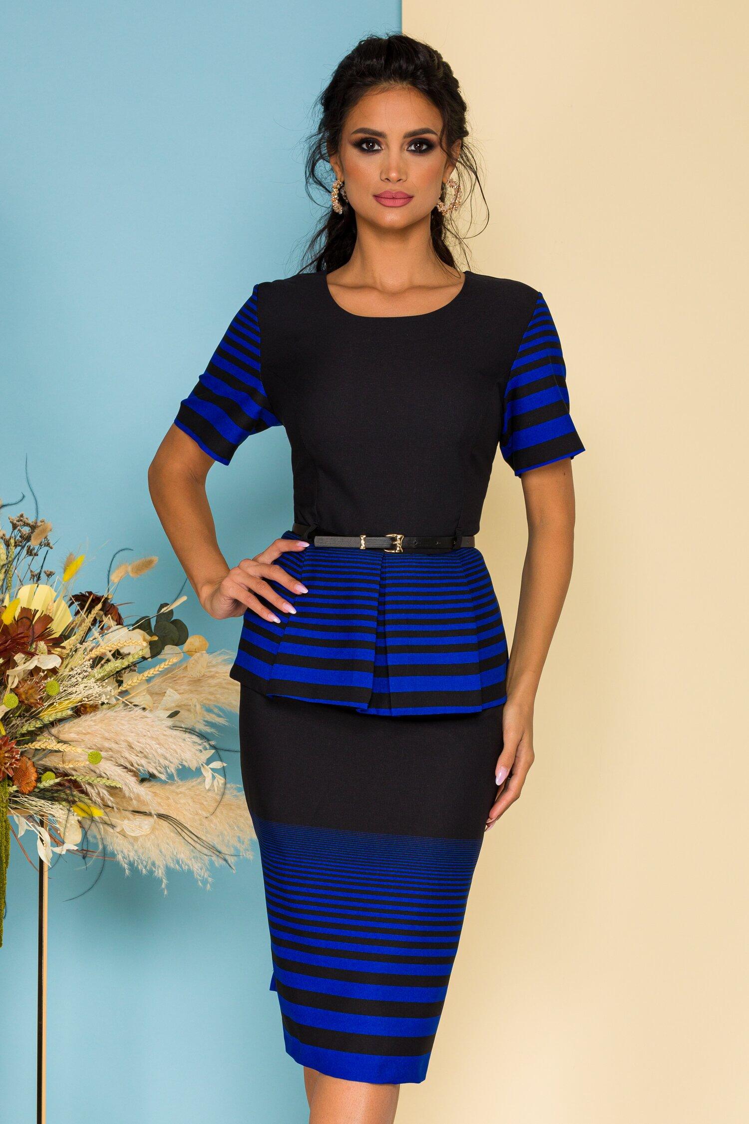 Compleu negru cu albastru din doua piese cu bluza imprimata