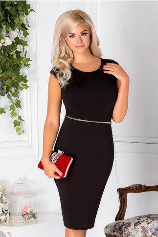 Compleu Nidia cu rochie si sacou negru cu imprimeu argintiu