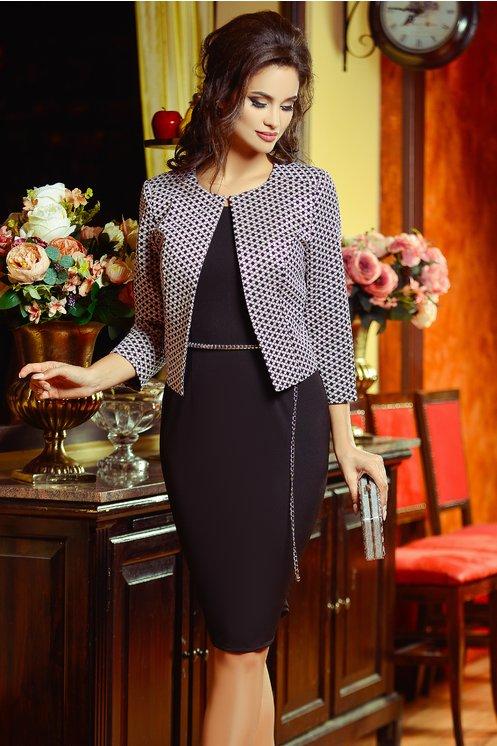 Compleu Nidia Rochie Sacou Roz Elegant
