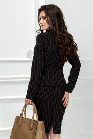 Compleu Odette negru cu dungi albe fusta si sacou
