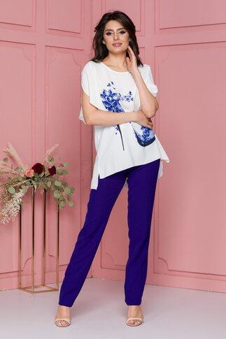 Compleu Olivia albastru cu pantaloni si bluza cu imprimeu