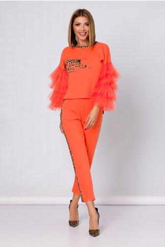 Compleu orange LaDonna by Catalin Botezatu cu insertie animal print si tull
