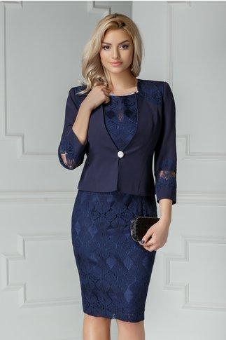 Compleu Radmila bleumarin cu rochie si broderie