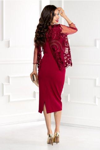 Compleu Reina grena rochie si bolero elegant