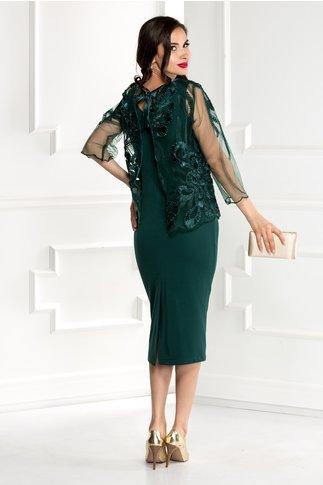 Compleu Reina verde rochie si bolero elegant