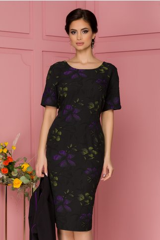 Compleu Rene negru cu mov compus din rochie si sacou