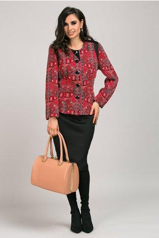 Compleu rochie sacou rosu elegant din 2 piese