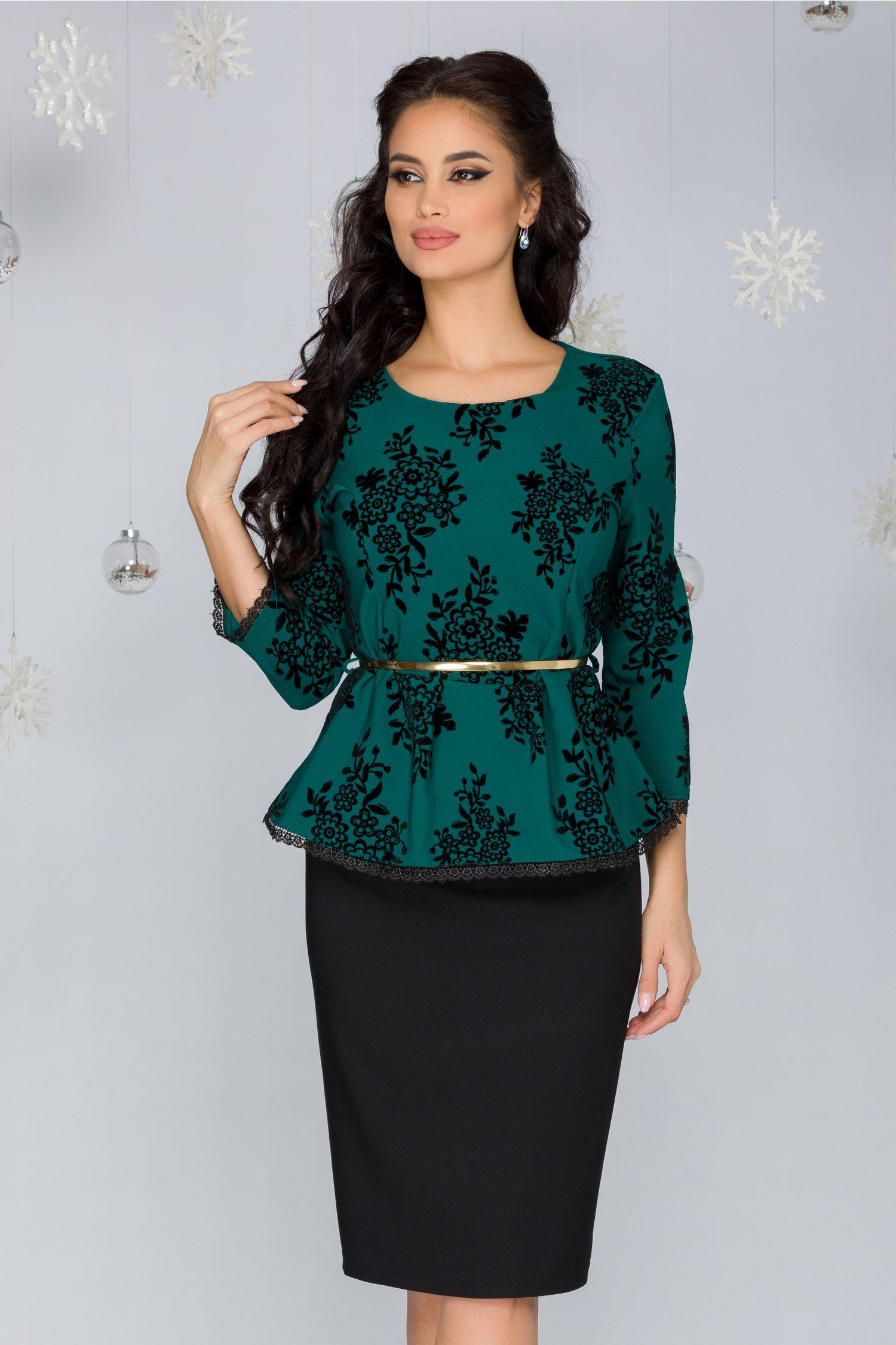 Compleu Sandra negru-verde cu insertii florale catifelate