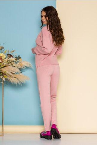 Compleu Selena roz din tricot cu bluza pe gat si pantaloni