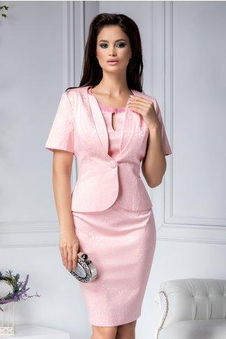 Compleu Silvia roz cu detalii florale