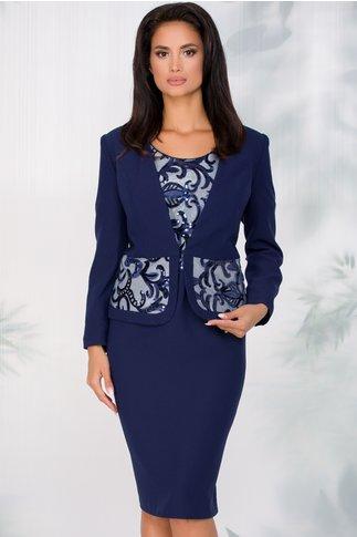 Compleu Vanesa bleumarin cu rochie si sacou accezorizate cu paiete