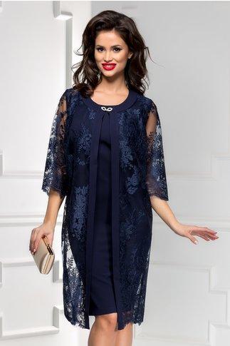 Compleu Venera bleumarin rochie si bolero lung