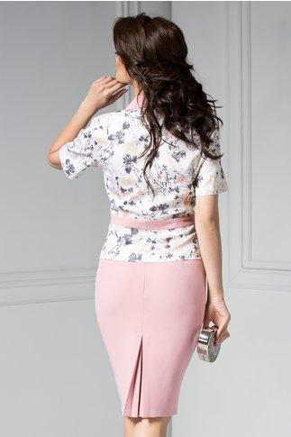 Costum dama lila cu imprimeuri elegant