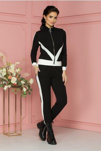 Costum sport Dany negru cu benzi albe