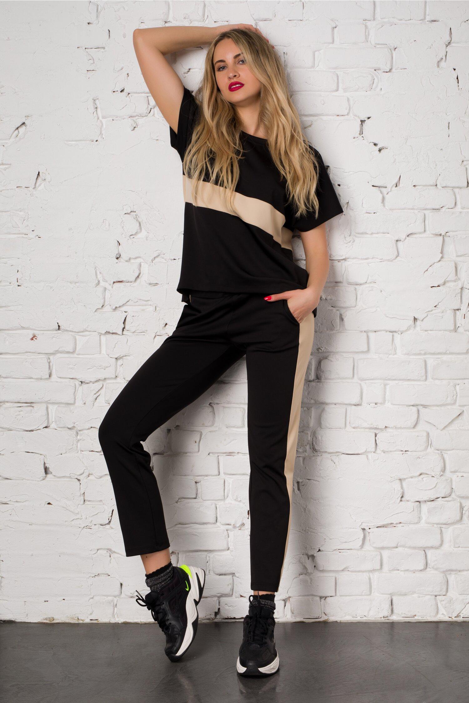 Costum sport Ella Collection Sasha negru cu insertie bej alcatuit din top si pantaloni