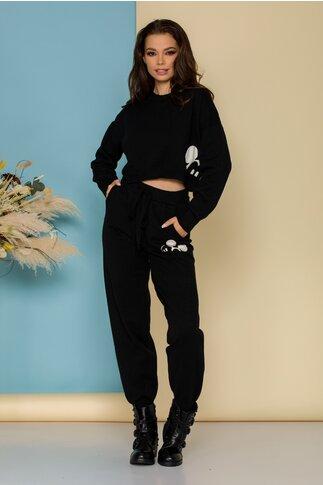 Costum sport Mickey negru din tricot