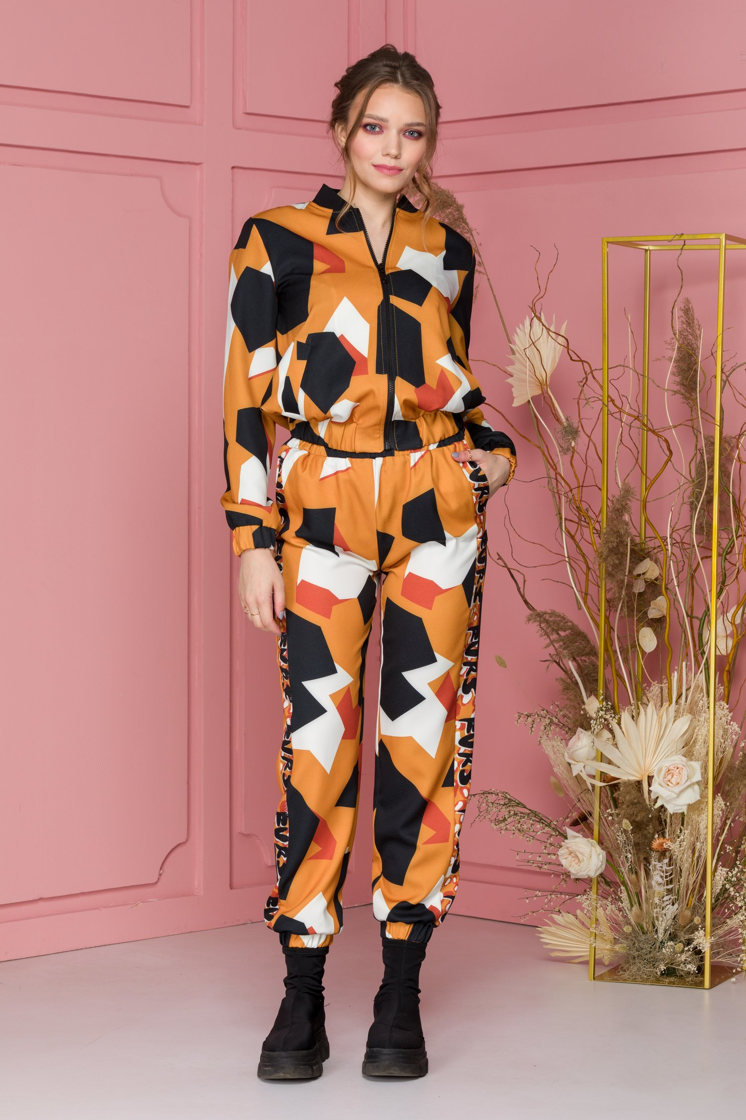 Costum sport orange cu imprimeu abstract - costum sport orange cu imprimeu abstract 489162 4 - Costum sport orange cu imprimeu abstract