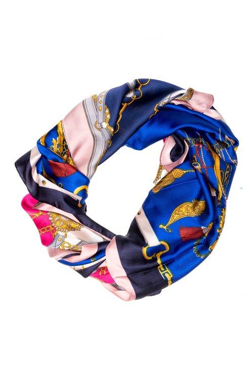 Esarfa albastra cu detalii fashion