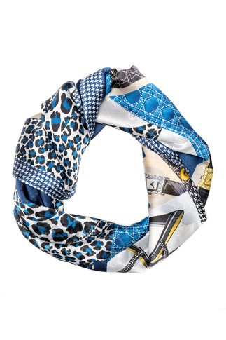Esarfa gri cu animal print albastru si detalii fashion
