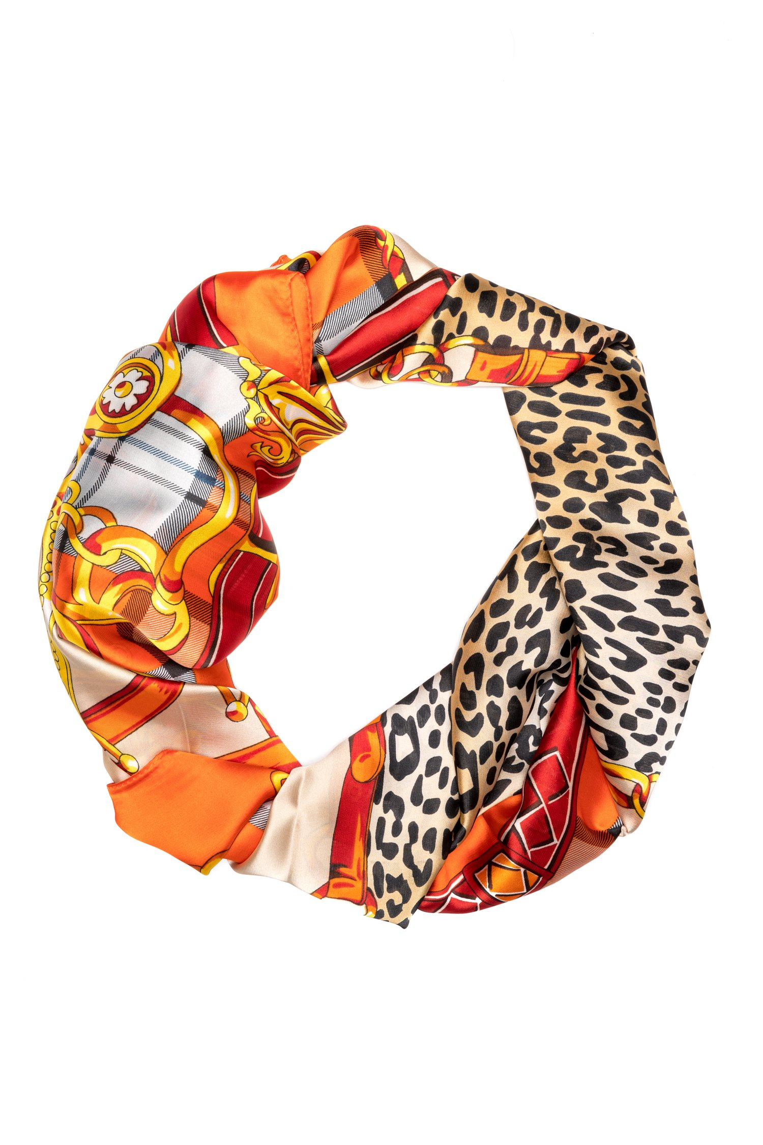 Esarfa orange cu animal print si detalii fashion thumbnail