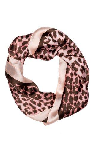 Esarfa patrata roz cu animal print