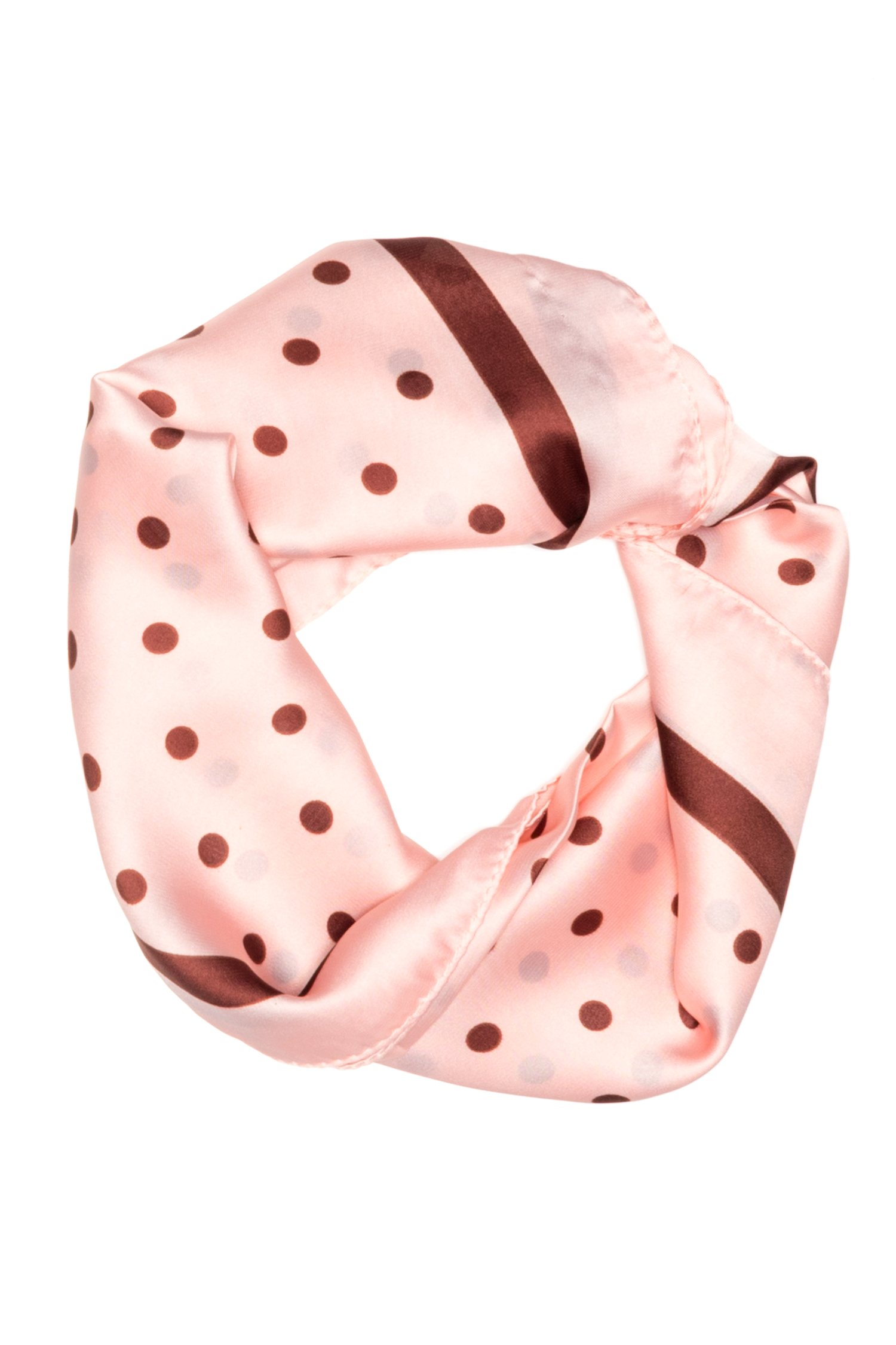 Esarfa patrata roz cu buline maro