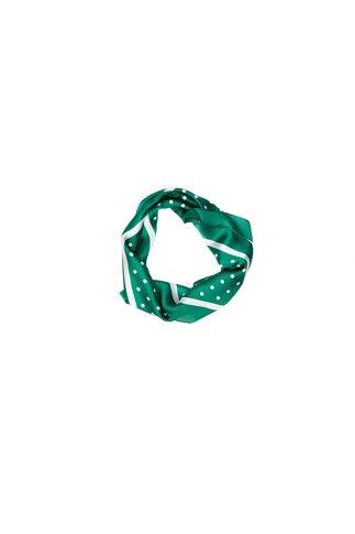Esarfa patrata verde cu buline albe
