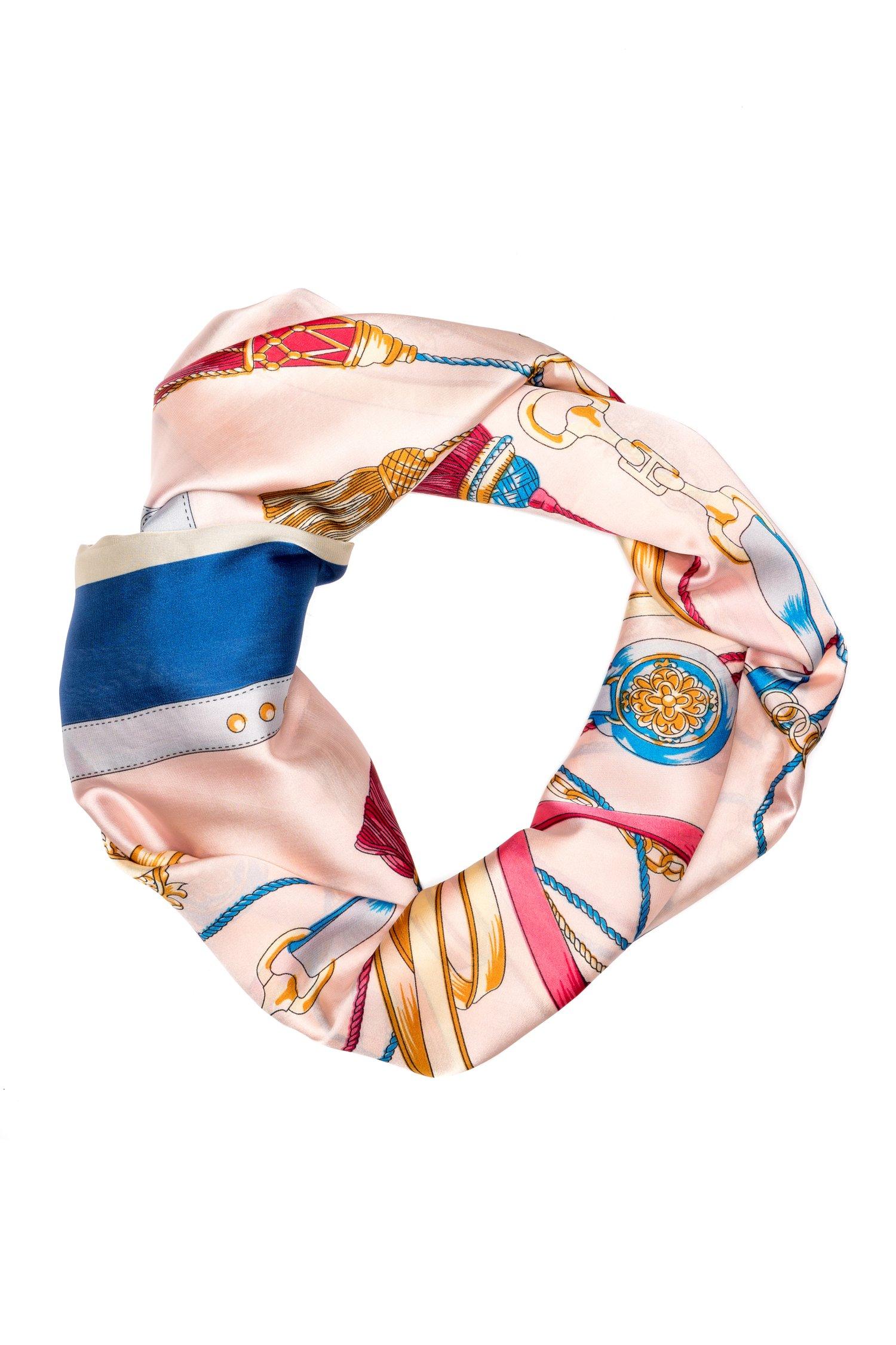 Esarfa roz cu albastru si detalii colorate thumbnail