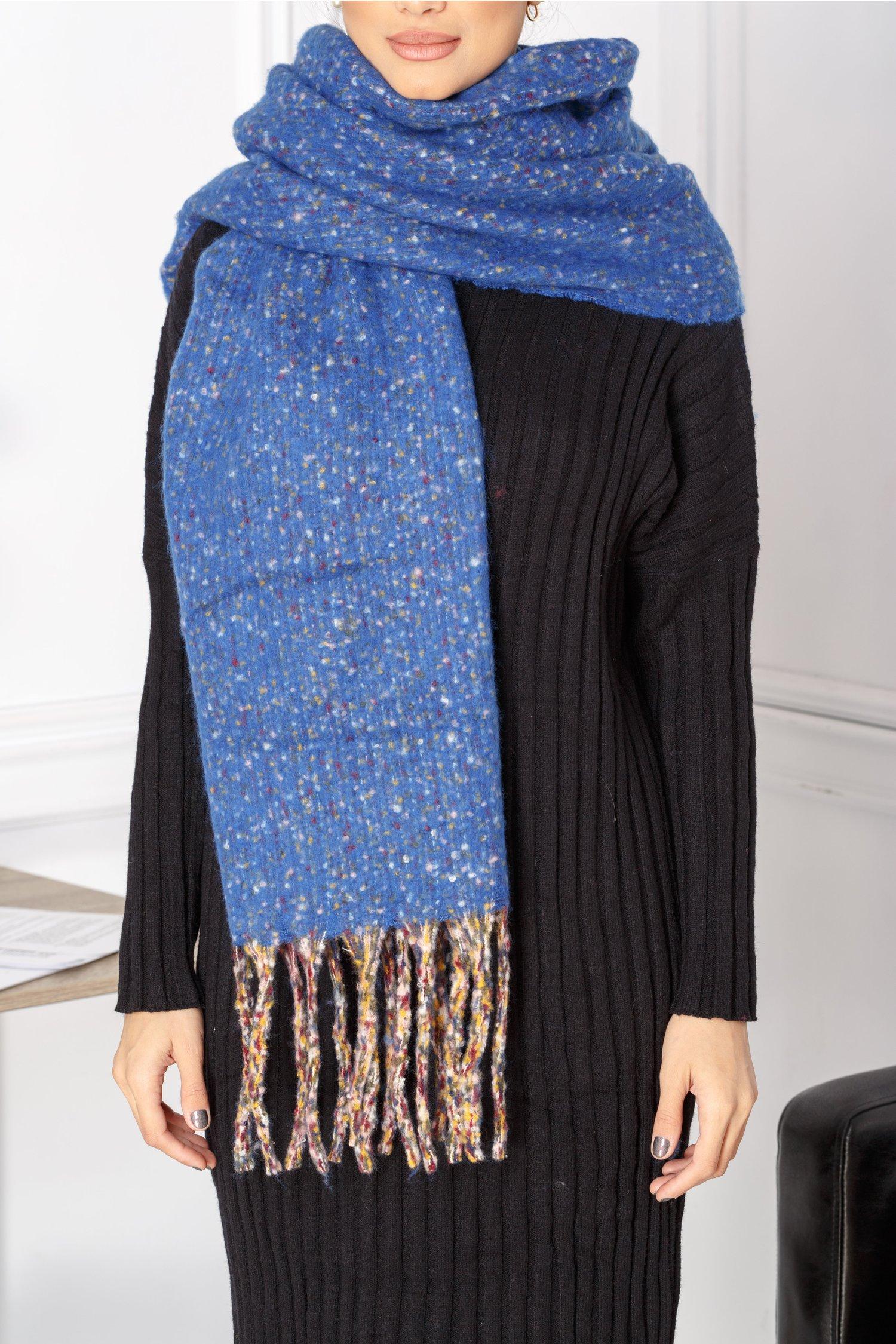 Fular Odde tricotat albastru cu insertii multicolore