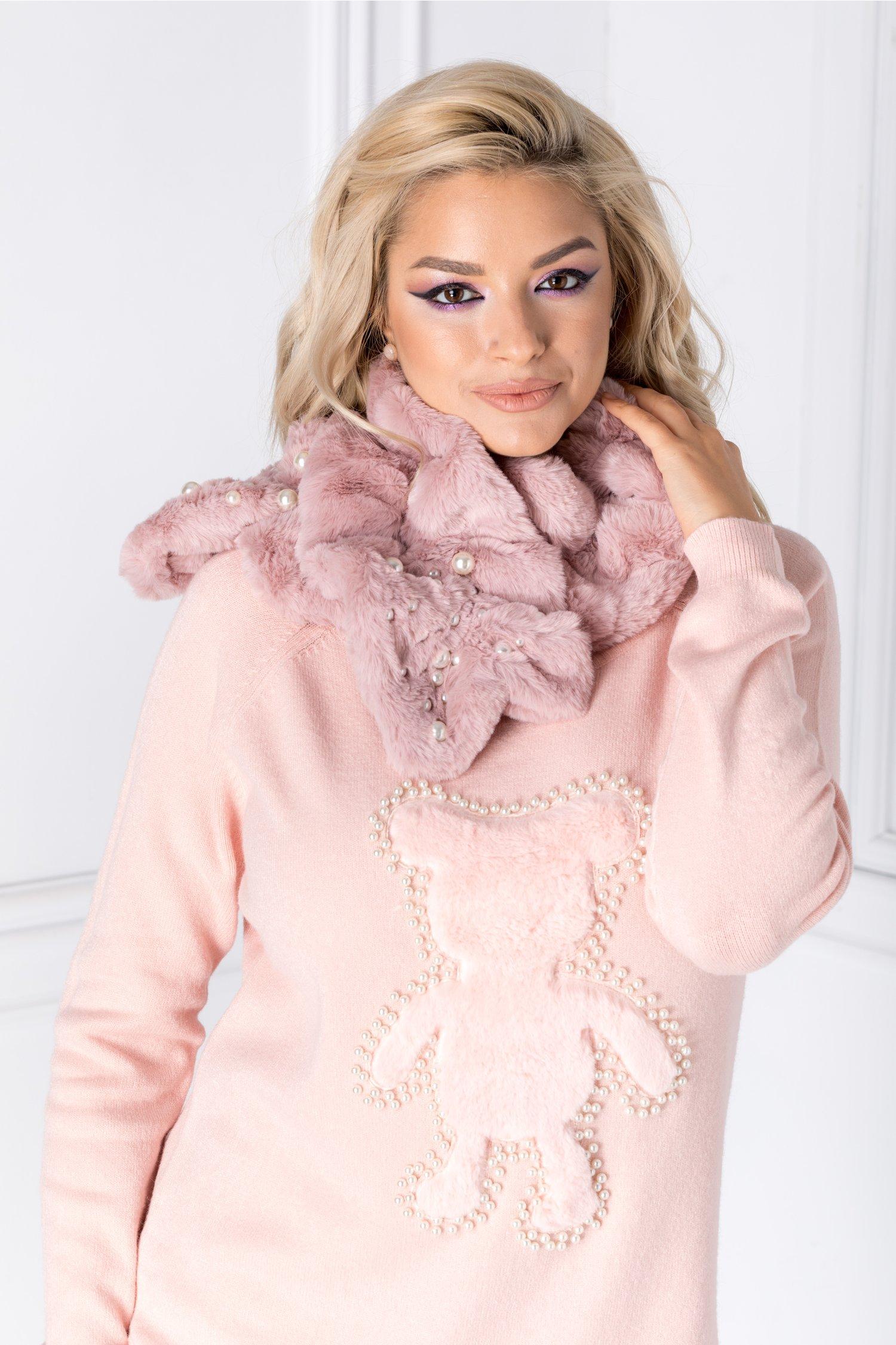 Fular roz din blanita cu perle