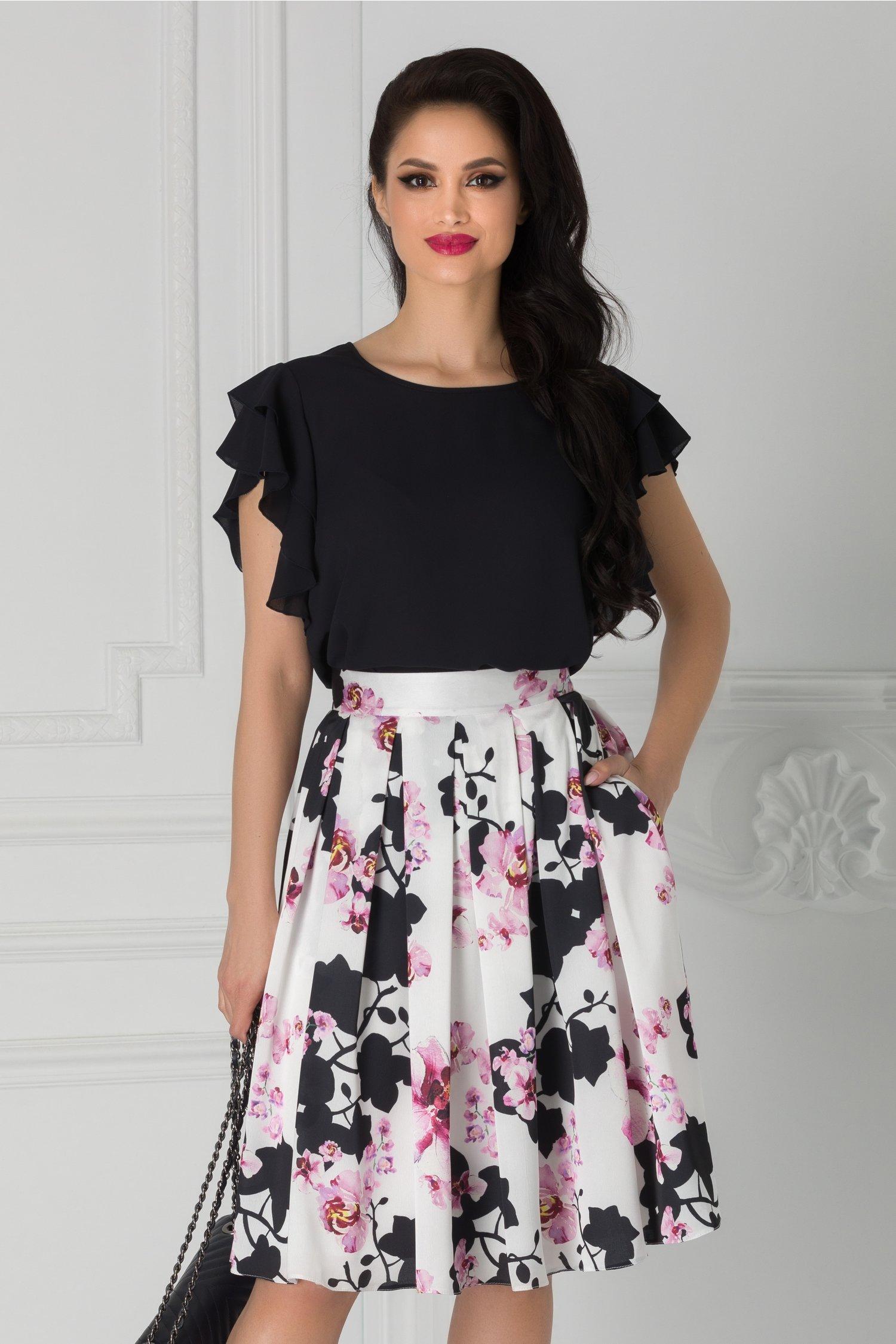 Fusta clos alba cu imprimeu floral roz si negru