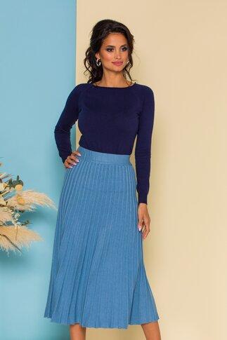 Fusta din tricot midi bleu cu talie lata elastica cu dungi