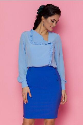 Fusta LaDonna albastra scurta accesorizata cu nasturi decorativi