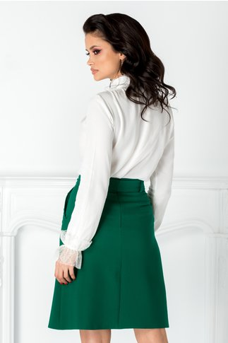 Fusta Moze office verde cu cordon in talie