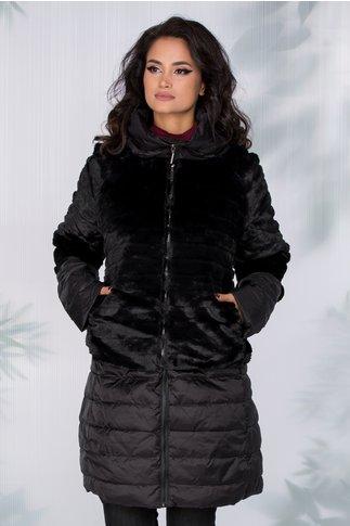 Geaca Anastasia neagra 3 in 1 cu blanita ecologica