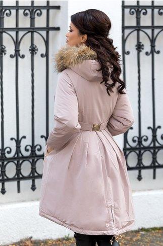 Geaca Mary roz prafuit lunga cu blanita naturala la gluga