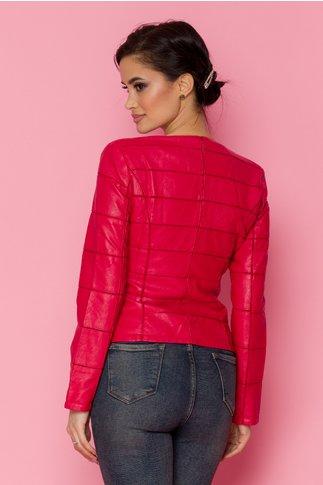 Geaca Vicky rosie din imitatie de piele cu insertii delicate din tull