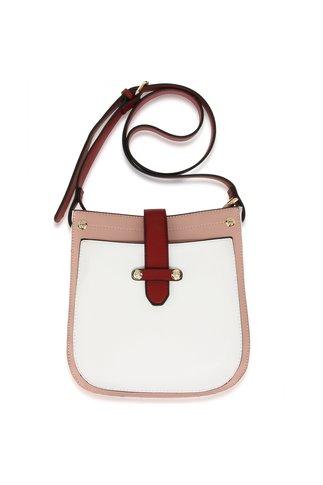Geanta alb cu roz si detalii burgundy
