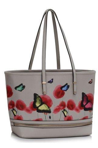Geanta Butterfly gri cu imprimeu floral