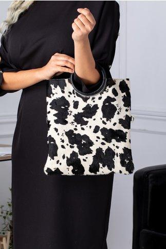 Geanta Capry cu insertii imprimate in tonuri de alb si negru