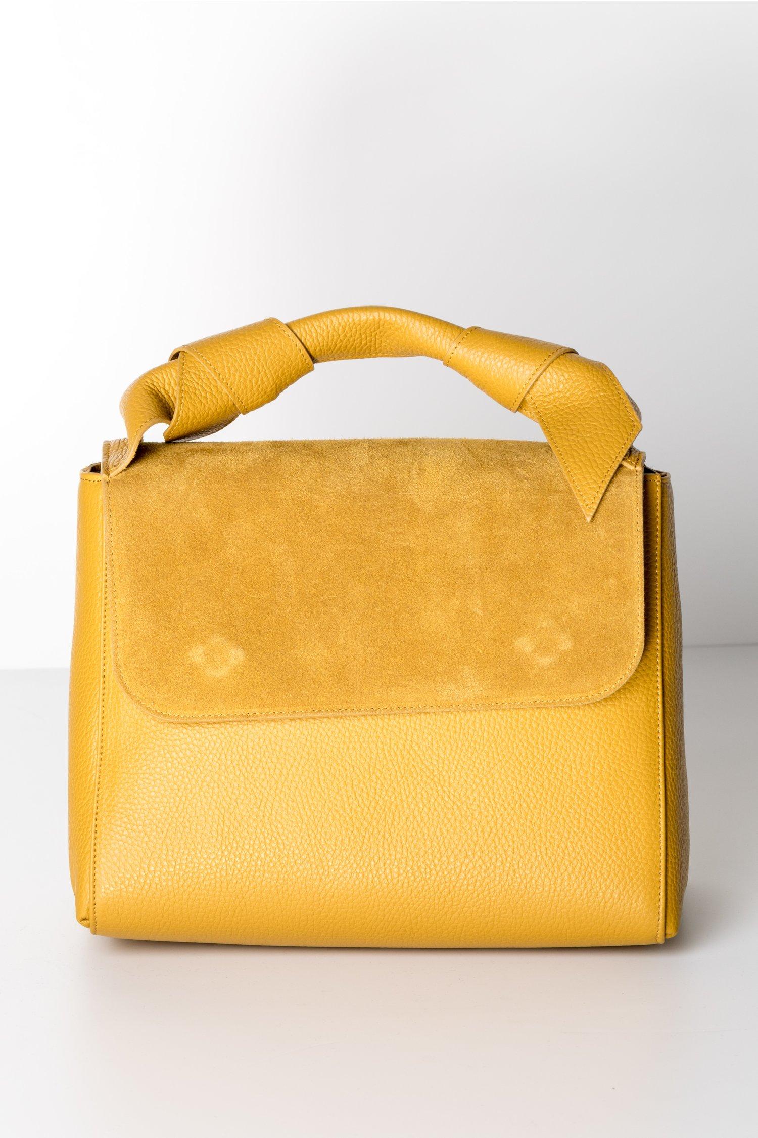 Geanta galben mustar din piele naturala cu aplicatii la maner