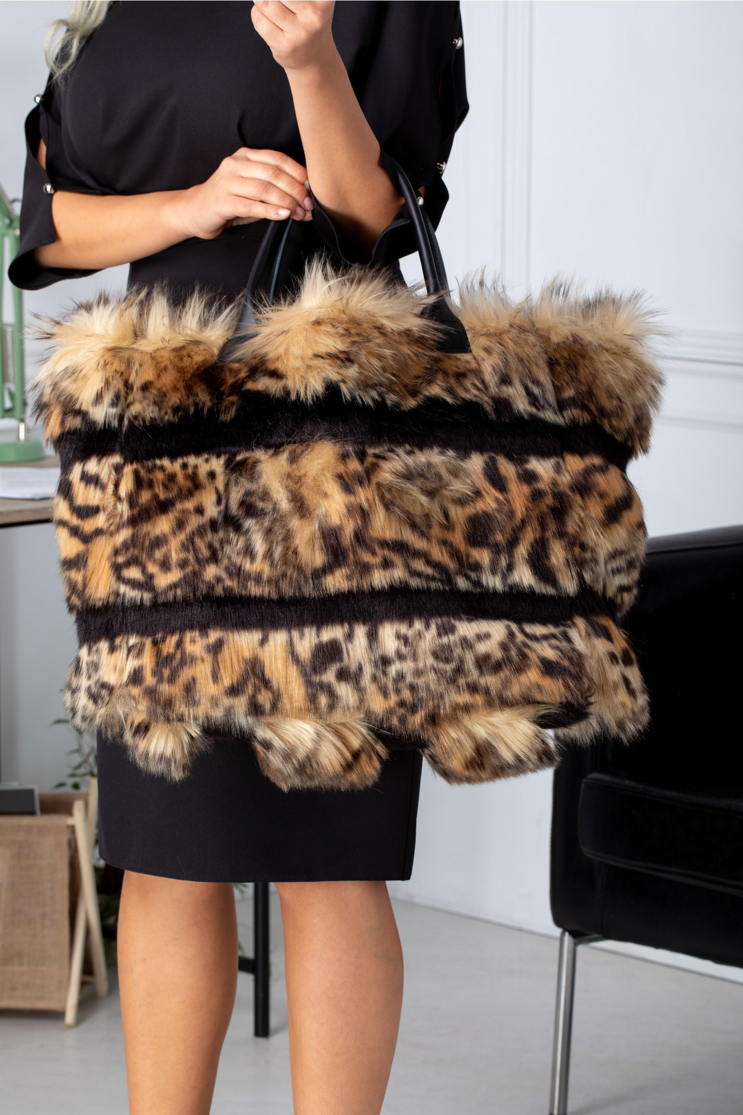 Geanta Kitty Maxi Cu Insertii Dungi Negre Si Animal Print Maro Leopard