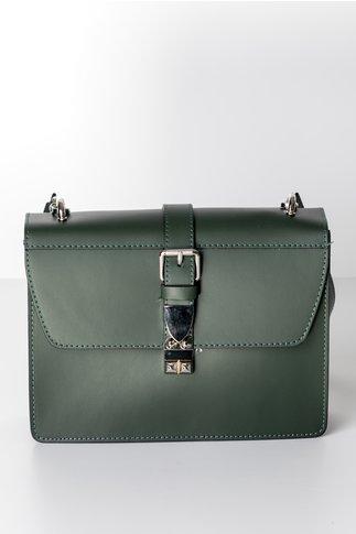 Geanta verde inchis stil postas