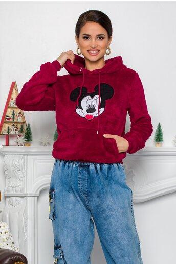 Hanorac Mickey Mouse bordo cu gluga si buzunar maxi