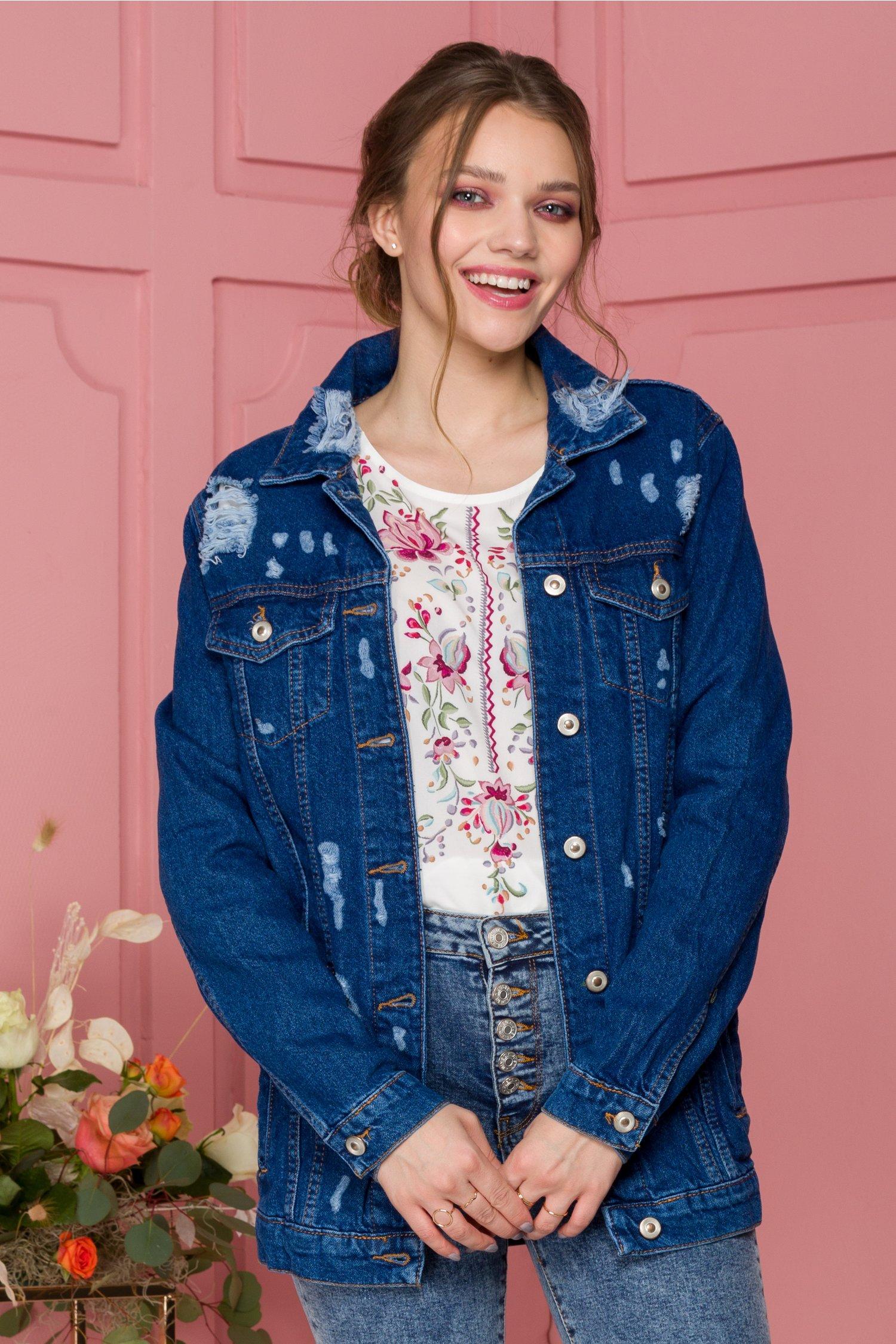 Jacheta albastra din denim cu efect prespalat