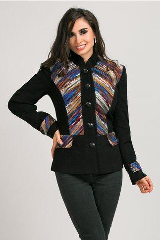 Jacheta dama neagra cu broderie colorata