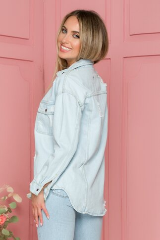 Jacheta Deny bleu din denim cu croi asimetric